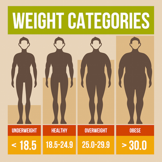 Body mass index retro infographics poster. Vector illustration.