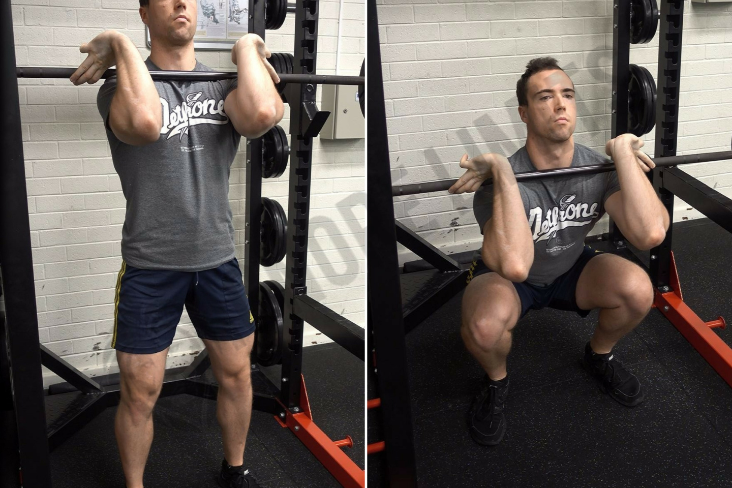 Front squatting with a barbell. Front squats with dumbbells 81
